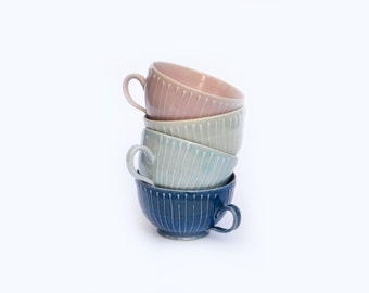 Ceramic Striped Teacup / Punch Cup