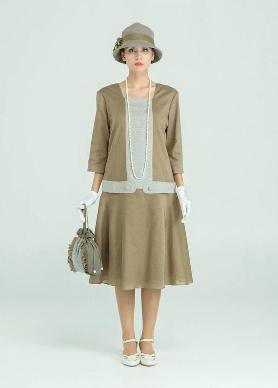 1920s Style Dresses, Flapper Dresses Olive linen Great Gatsby dress with square neckline & 3/4 sleeves $140.00 AT vintagedancer.com