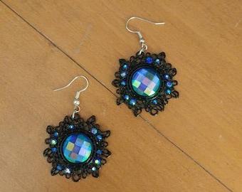 Sparkly blue rhinestone earrings