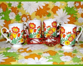 Mod Flower Power Pedestal Mugs, Ceramic - Set of 4, with Metal Caddy, Holder - Vintage 1970's