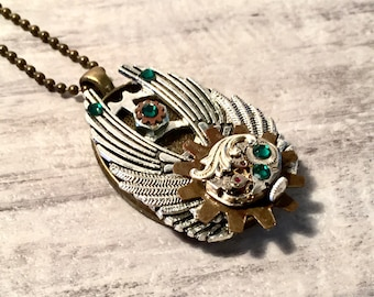 Steampunk Necklace, Steampunk Jewelry, Elgin Watch Movement, Unique Necklace Angel Wing Necklace, Assemblage Necklace, Bronze, Emerald Green