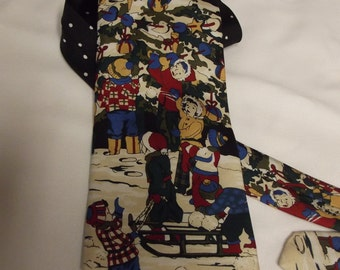 Vintage Men's Novelty Necktie - Neck Tie -CHRISTMAS tie shows old-fashioned snow scene with kids and Christmas tree - snow falling