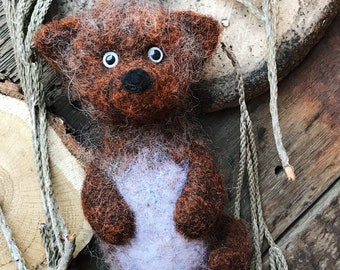 Wild scandinawian baby fox Toove wool felted toy