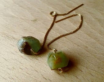 Chrysoprase and 14 k gold earrings / Chrysoprase and 14 k Earring Gold filled