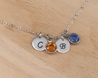 Personalized Mom Jewelry, Sterling Silver Initial Birthstone Charm Necklace Personalized Mother Jewelry with 1-2-3-4 Birthstone Gift for Mom