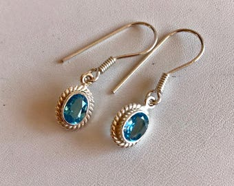 Blue Topaz Drop Earrings-Topaz Gemstone Earrings