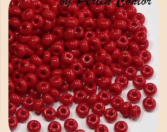 23 g glass Beads 4.0 mm 6/0 cardinal red opaque preciosa seed beads (AZ1061)