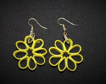 Rolled Paper Earrings - Yellow Flower Petals
