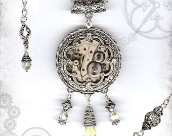 Crystal Steampunk Wedding Necklace - A Window in Time - Za Dee Da - Time Traveller Collection