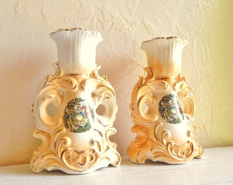 Beautiful Ornate Ceramic Candlestick with Gold Details Fancy Vintage 2 Two Italian Florentine European Decor