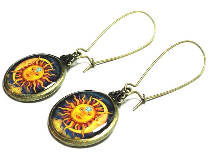 Sun and Moon Celestial Earrings, Dangle Earrings, Handmade Jewelry, Resin Earrings,  Sun & Moon, Resin Jewelry, Gift for her