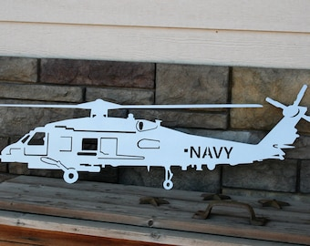 US Navy SH-60, Navy Helicopter Sign, US Navy Metal Art, Navy Helicopter, Navy Chief gift, Navy Seahawk, Sikorsky Helicopter, Navy Retirement