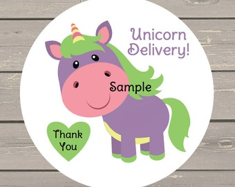 120 White Round Printed Unicorn Delivery Customer Thank You Stickers Seals Use on your LuLa Packages