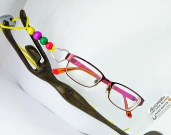 Yellow heart adjustable handmade glasses necklace, beaded glasses lanyard, sunglasses lanyard, yellow glasses holder, yellow glasses chain,