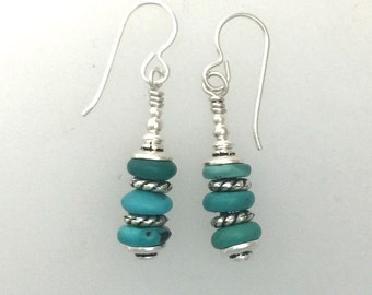 Turquoise Earrings with Silver and Safe Pewter