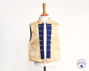 Little Prince Kids Costume | Page Boy Gold Renaissance Vest | Damask Prince Charming Vest | Musketeer | King Fancy Dress King | VEST ONLY
