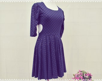 Save Your Heart For Me Heart Cut Out Sides Skater Dress - Studded Blue Skater Dress with Sleeves, OOAK Size Small