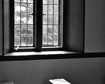Black and White Photography, Wall Art, Decoration, window and bench, Photo