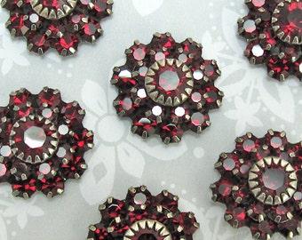 Large Siam Deep RED Swarovski Crystal rhinestone flower in antique silver setting