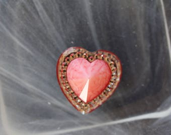 large pink cabochon heart scrapbooking