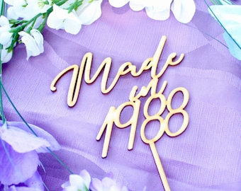 Made in 1988, Happy 30th Birthday, Dirty 30 Cake Topper, 30th Birthday Decor, Happy 30th Birthday Topper, Wood Cake Topper Birthday