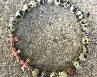 8mm jasper mens bracelet crosses beaded bracelet religious mens jewelry