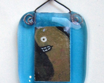 Original art OOAK - TEENY TINY painting of a creature in a handmade glass picture frame