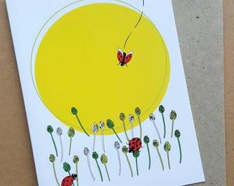 Ladybird Greeting Card, Blank Greeting Card, Birthday Card, Girls Card, Yellow Sun Card, Poppies, Red Ladybirds