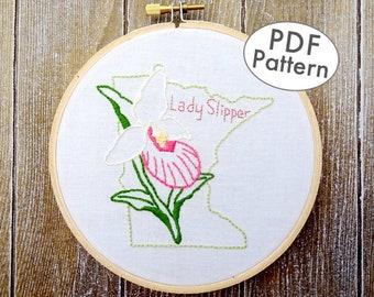 Lady Slipper Flower Embroidery, Minnesota Hand Embroidery Pattern, PDF Embroidery, Minnesota Hoop Art, Wildflower DIY Embroidery Design