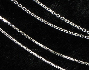 16 Inch Cable Chain (Top) or Venetian Box Chain (Bottom Chain) - Add a Chain to Your Charm - Add on Chains - For Smaller Once Disc Pendants