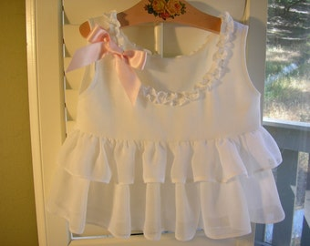 Girl's Ruffled White Top With Pink Silk Ribbon, Size 1