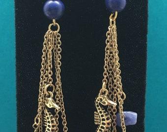 Under The Sea Dangle Earrings, Anchor Dangle Earrings, Seahorse Earrings, Sea Earrings, Ocean Earrings, Beach Earrings, Summer Earrings