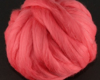Merino Wool Top - 21.5 micron - Coral- 4 ounces