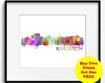 Kingston, Jamaica Watercolor Art Print (397) Cityscape
