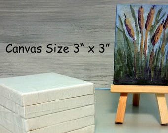 "MINIATURE WRAPPED CANVAS - Pack of 5 Miniature 3"" x 3"" Canvases for Acrylic, Oil Painting, Mixed Media, Small Mini Artist Canvas, Art Supply"