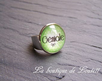 Apple silver plated picture ring great ° on a green background