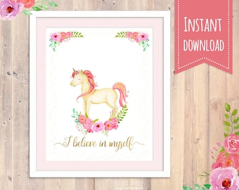 Nursery wall Print, unicorn Wall Art, Nursery pink Nursery Wall Printable, Nursery Wall Decor, girl Wall Art, Girl Wall Art, Baby Room Decor
