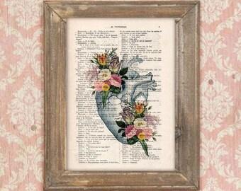 Retro Heart Flower Anatomy Print, Human, Anatomy art, love, science wall decor, art print drawing, Vintage Book Dictionary Get well soon
