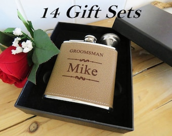 14 Leather Groomsman Flask Set ~With Free Engraving~ 6 oz Leather Wrapped Stainless Steel Flask