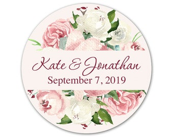 Personalized Wedding Stickers - Custom Wedding Favor Labels - Stickers for Favors - Roses Label - Pink Rose Stickers - Wedding Favor Sticker