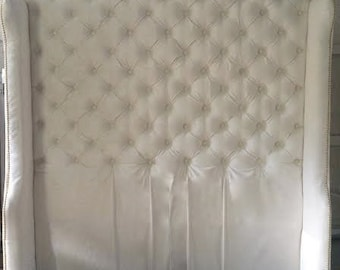 Diamond Tufted Slightly Arched Wingback Headboard in Ivory Velvet (Queen, Extra tall)
