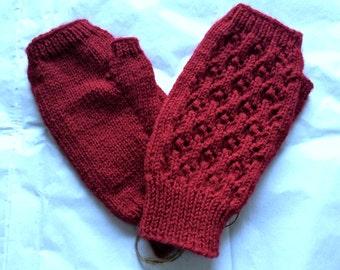 Fingerless Gloves — Tipless Finger Gloves — Knit Fingerless Gloves — Fingerless Mittens — Red Fingerless Gloves —Lace-Knit Fingerless Gloves