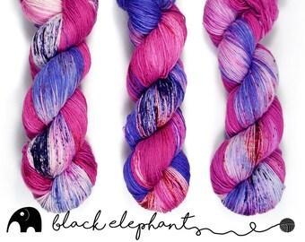 Very Berry sock yarn skein hand dyed yarn  superwash merino nylon speckled yarn 4 ply yarn violet pink blue red 100g