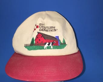 Vintage 21st-century genetics trucker snapback hat 1980s