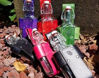 Leather Flask Holder - 8 ounce Large Glass Belt Flask in Customized Leather Holder - Quarter Liter Bottle Holder
