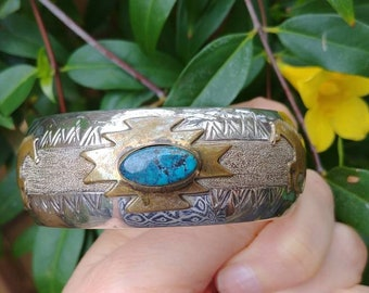Vintage Signed Sterling and Gold Turquoise Native American Cuff Bracelet With Gold Stallions