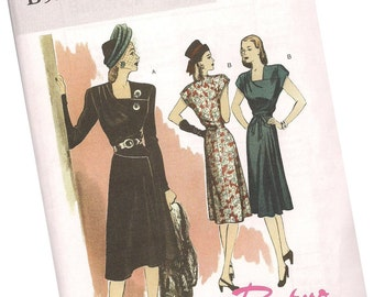 BUTTERICK PATTERN B5281, retro throwback of 1946, Butterick, new and uncut, ladies' career dresses, sizes 6, 8, 10, and 12