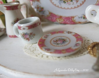 Lady Carlyle Coral Coffee Mug and Plate for Dollhouse