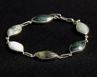 Rainbow Diamond Jade Silver Mayan Bracelet