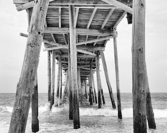 Beach Pier, Ocean Photography, Beach Print, Beach Decor, Coastal Decor, teal blue, sea green, black and white, beach wall art